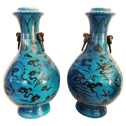 Yuan-Style Dragon & Phoenix Vases, Pair