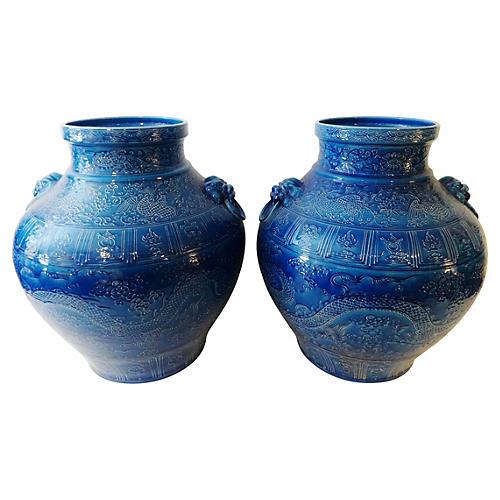 Mansion Size Dragon & Phoenix Vases, S/2