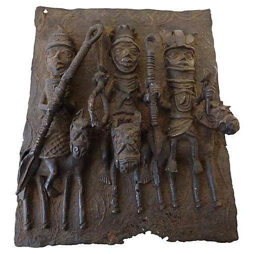African Benin Plaque King w/ Warriors