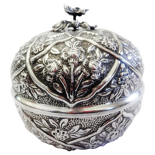 Ornate Coin Silver-Covered Bowl
