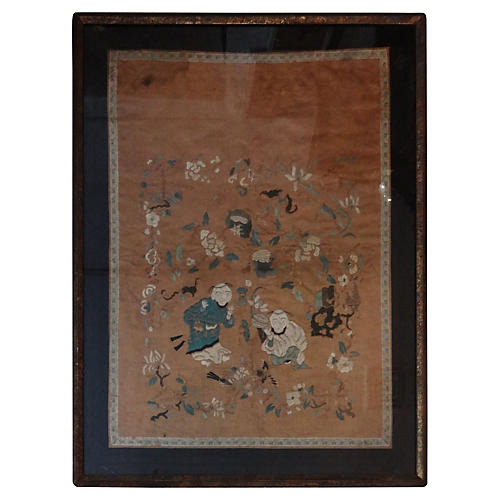 Antique Embroidery Silk Panel w/Kids