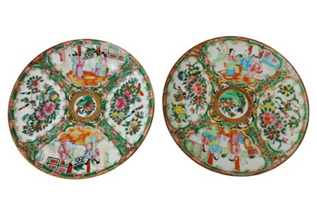 Chinese Rose Medallion Plates, S/2