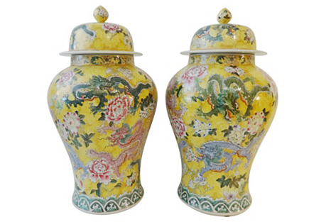 Imperial Yellow Ginger Jars,  Pair