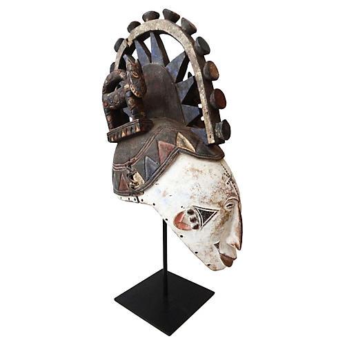 African Igbo Mask w/ Stand
