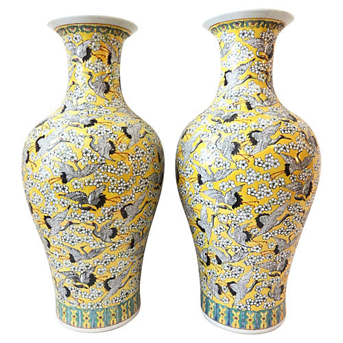Imperial Yellow Crane-Motif Vases, Pair