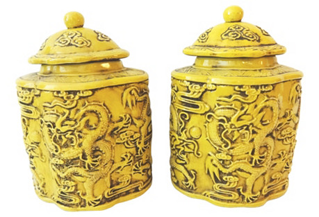 Imperial Ginger Jars w/ Dragons, S/2
