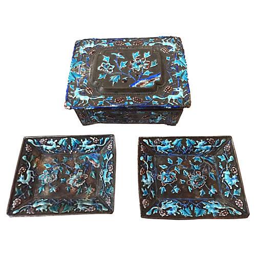 Chinese Silver Enamel Box & Trays, S/3