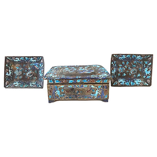 Chinese Silver Enamel Box & Trays, S/3