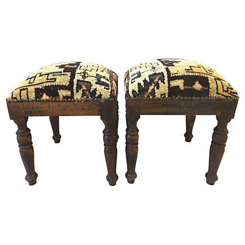 Stools w/ Antique Caucasian Rug, Pair