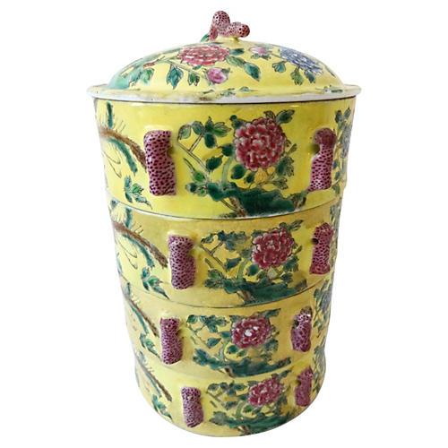 Famille Jaune Porcelain Carrier, 5 Pcs