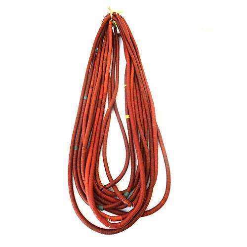 African Vinyl Bead Necklaces, S/10