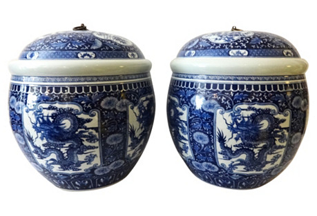 Porcelain Ginger Jars, S/2