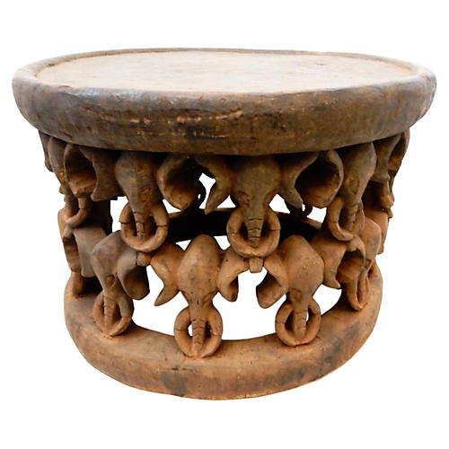 African Elephant Bamileke Table/Stool