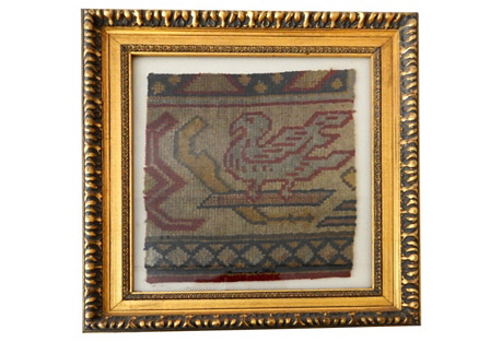 Framed 19th-C. Turkish Oushak Fragment