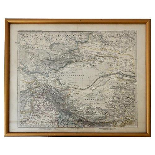 German Stielers Hand Atlas Map, 1881