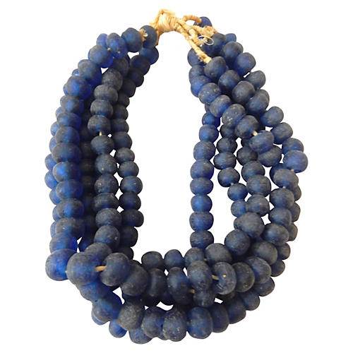 African Blue Trade Beads Strands, S/5
