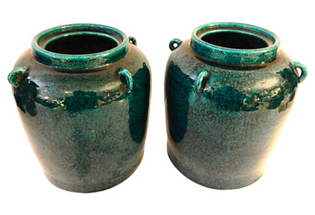 Turquoise Sauerkraut Jars, Pair