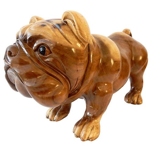 Carved Wood Bulldog
