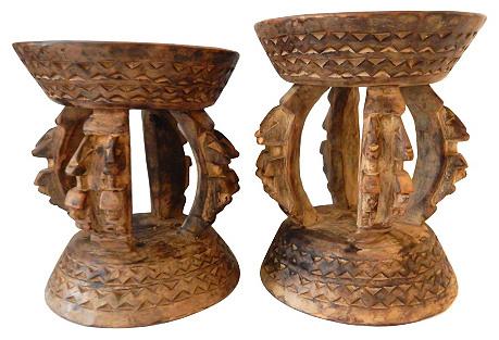 Malinese Dogon Stools w/ Ancestors, S/2