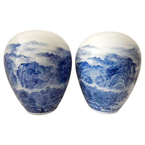 Hand-Painted Blue & White Vases, S/2