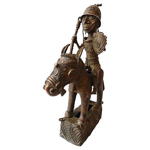 Benin Bronze Oba King on Horse