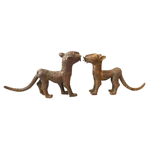 African Bronze Leopards, Pair