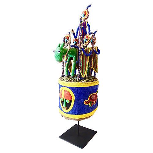 African Yoruba King Crown w/ Stand