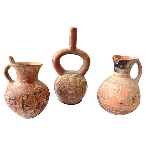 Pre-Columbian-Style Pottery Vases, S/3