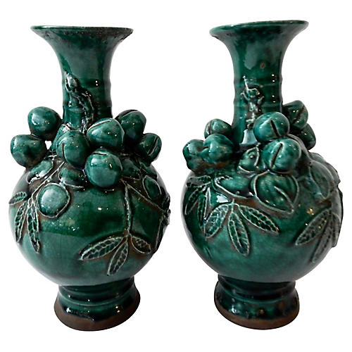 Green Peach Vases, Pair