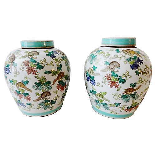 Porcelain Famille Rose Ginger Jars, S/2