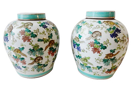 Porcelain Famille Rose Ginger Jars, S/2