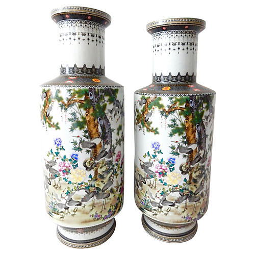 Porcelain Famille Rose Vases, S/2