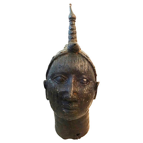 Large Benin Bronze Oba Head