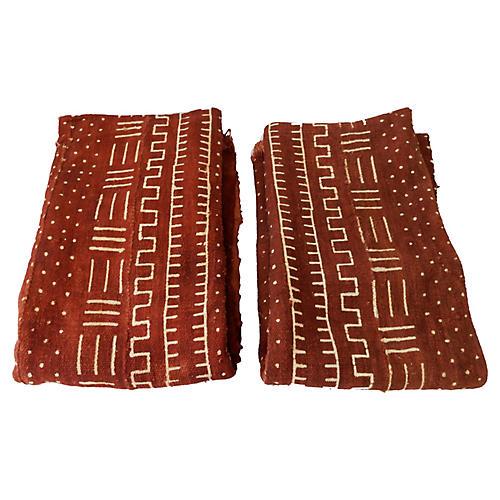 Chocolate Brown Mud-Cloth Textiles S/2