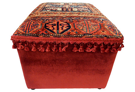 Ottoman w/ Antique Kurdish Rug
