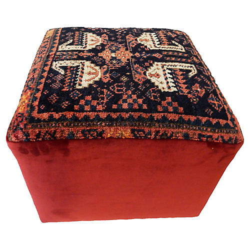 Square Ottoman w/ Antique Kurdish Rug