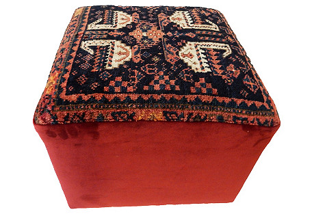 Square Ottoman w/ Antique Kurdish Rug