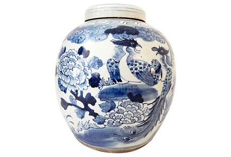 Blue & White Peacock Ginger Jar
