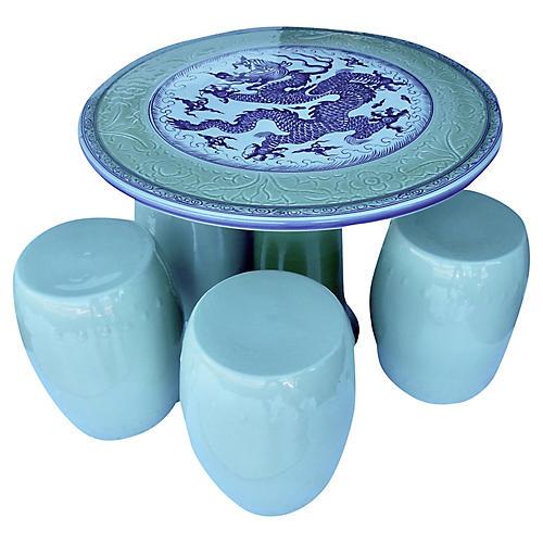 Celadon Table w/ Garden Stools, 5 Pcs