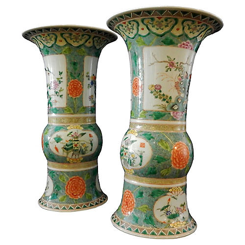Famille Verte Gu-Shaped Vases, Pair