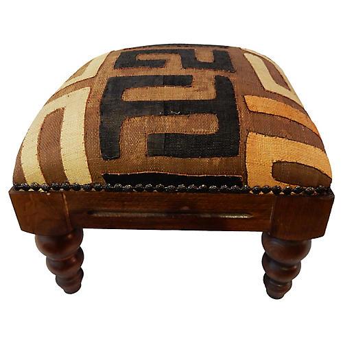 Kuba Cloth & Wood Footstool