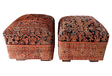 Antique Malayer Rug Ottomans, Pair