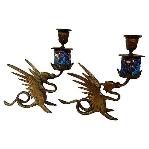 French Gothic Gargoyle Candleholders