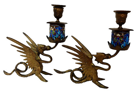 French Gothic Candle holders Gargoyles