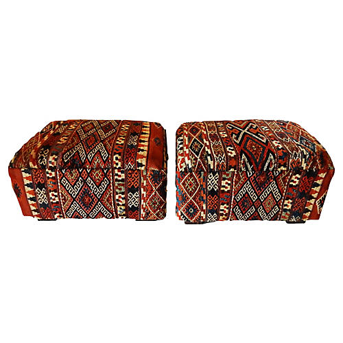 Tribal Azeri Kilim Ottomans, Pair