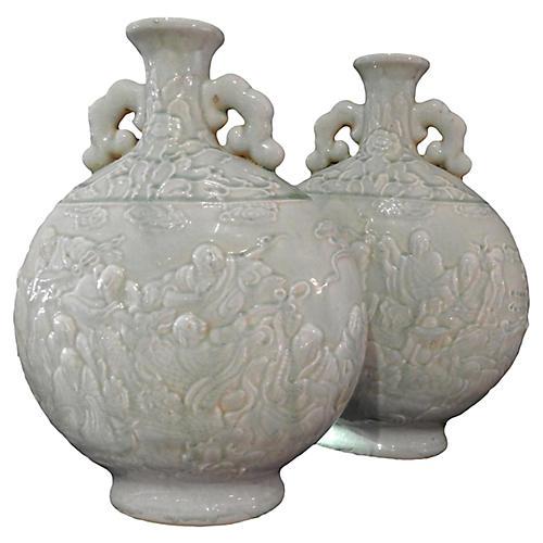 Moon Flask Celadon Buddha Vases
