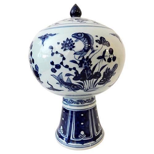 Blue & White Porcelain Tea Canister