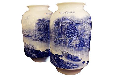 Blue & White Landscape Vases, Pr