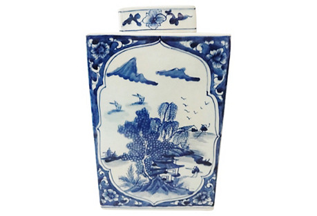 Blue & White Squared Scenery Ginger Jar