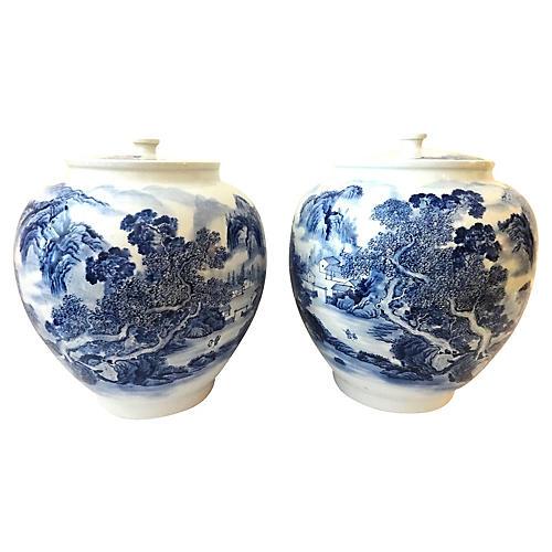 Chinoiserie Ginger Jars, Pair